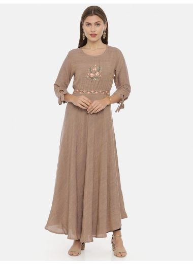 Neeru'S Onion Pink Color, Slub Riyon Fabric Tunic