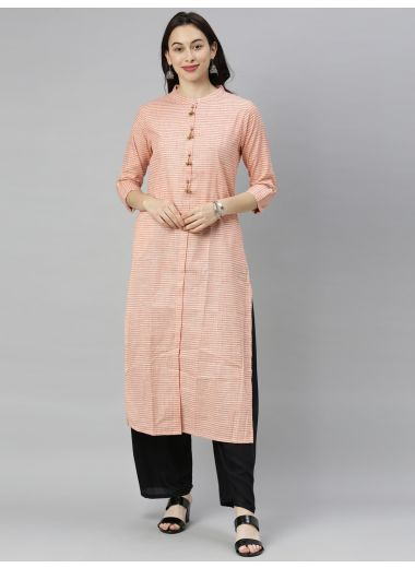 "Neeru'S Coral Colour Cotton Fabric Tunic ""48"""