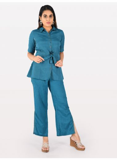 Neerus Women Teal Solid Tunic With Trousers