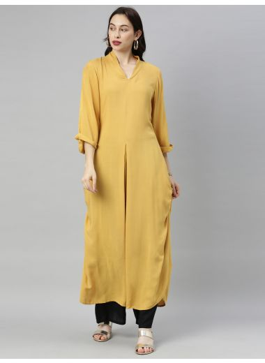 "Neeru'S Mustard Colour Rayon Fabric Tunic ""54"""