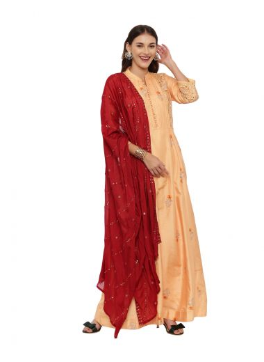 Neeru'S Mustard Color, Chanderi Fabric Full Sleeves Suit-Anarkali