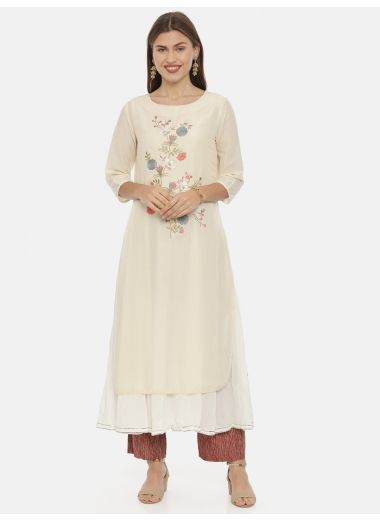 Neeru'S Cream Color, Muslin Fabric Tunic