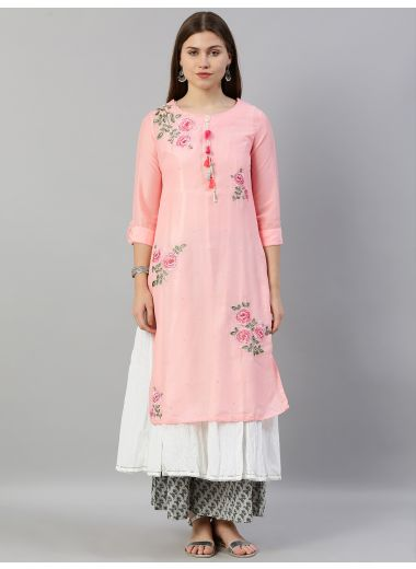 Neerus Women Pink  White Floral Embroidered Layered A-Line Kurta