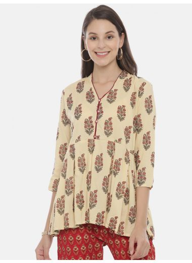 Neeru'S Cream Color, Rayon Fabric Tunic
