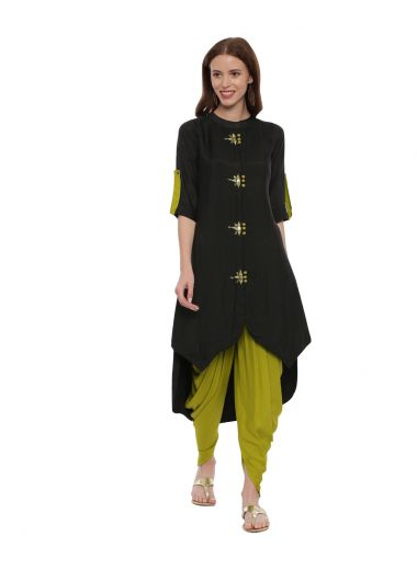 Neeru'S Black Color,Satin Fabric Suit-Patiala