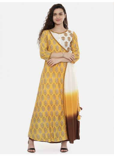 Neerus Women Mustard Yellow  White Printed Kurta With Trousers