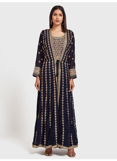 Neeru'S Navy Blue Color, Georgette Fabric Suit-Fusion