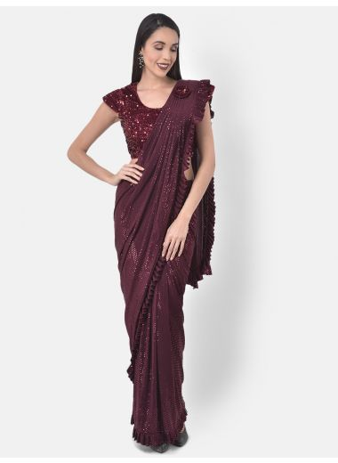 Neeru'S Maroon Color, Lycra Fabric Drape Saree