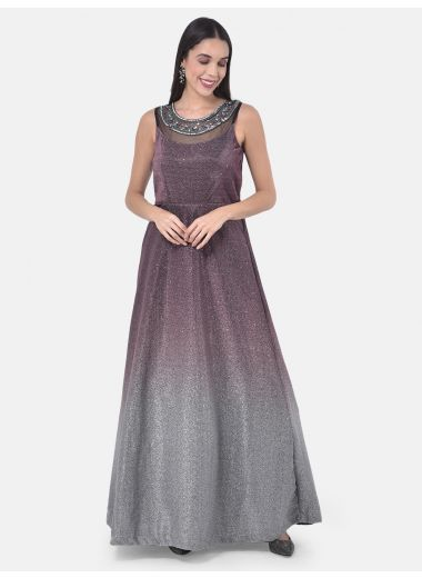Neeru'S Wine Colour Lycra Fabric Gown