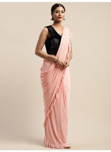 Neerus Peach Color Viscose Rayon Fabric Drape Saree, With Stitched Blouse