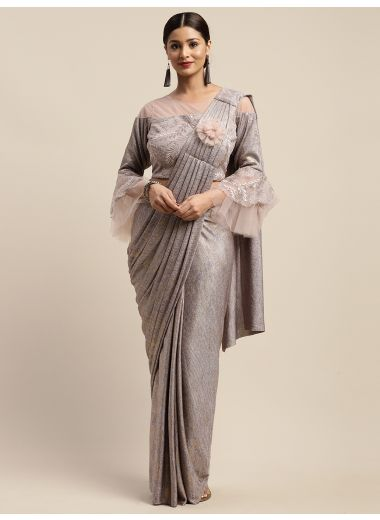 Neerus Pink Color Viscose Rayon Fabric Drape Saree, With Stitched Blouse