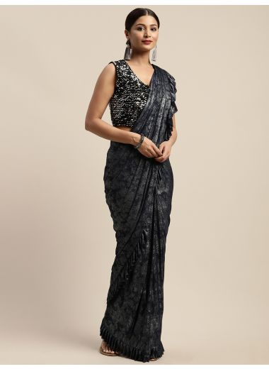 Neerus Navy Blue Color Viscose Rayon Fabric Drape Saree, With Stitched Blouse