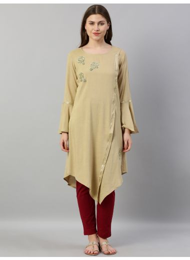 Neerus Women Beige Solid Asymmetric A-Line Kurta With Sequins