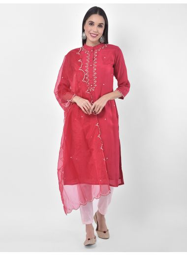 Neeru'S Red Colour Muslin Fabric Suit-Pant
