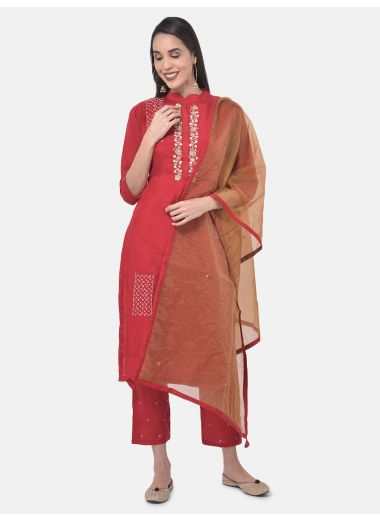 Neeru'S Red Color Muslin Fabric Suit-Pant