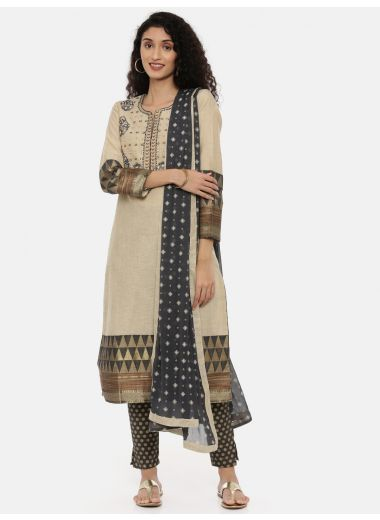 Neeru'S Beige Color, Chanderi Fabric Full Sleeves Suit-Pant