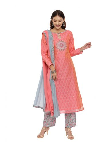 Neeru'S Peach Color, Chanderi Fabric Full Sleeves Suit-Pant