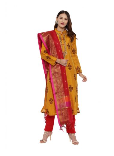 Neeru'S Mustard Color, Chanderi Fabric Full Sleeves Suit-Pant