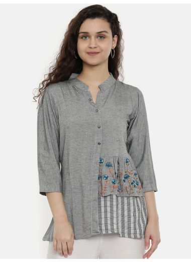 Neerus Women Grey Solid Tunic With Embroidered Detail