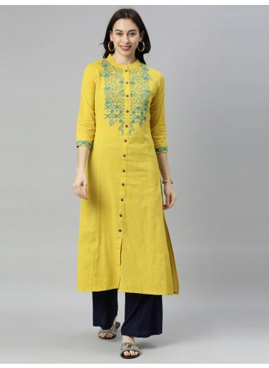 "Neeru'S Yellow Colour Flex Fabric Tunic ""46"""