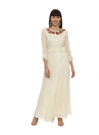 Neeru'S Off White Color, Cotton Fabric Gown