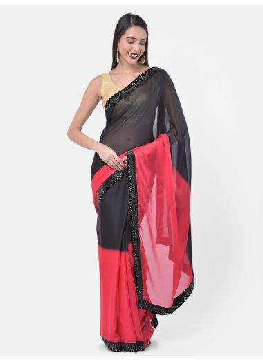 Neeru'S Pink Color, Crepe Fabric Saree