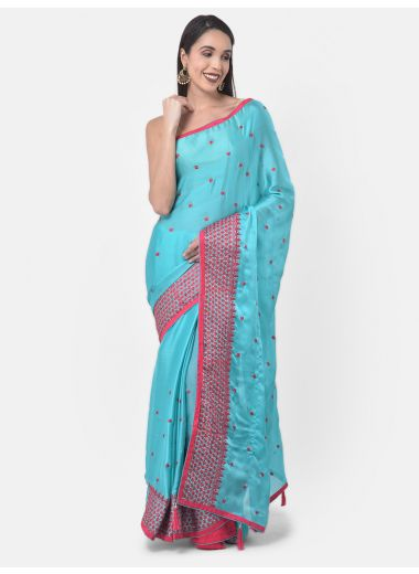 Neeru'S Sea Green Color, Chiffon Fabric Saree