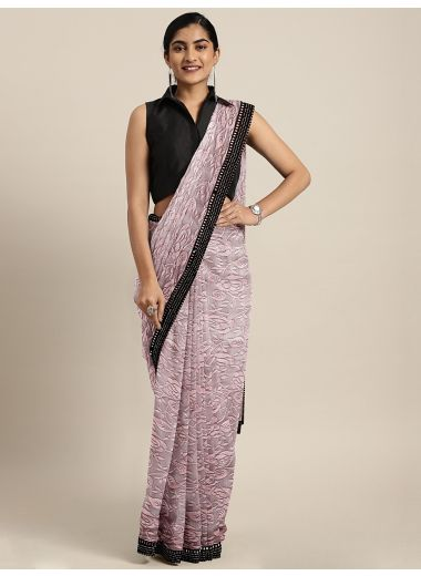 Neerus Pink Floral Printed Lace Saree