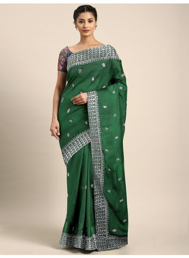 Neerus Green  White Poly Crepe Embroidered Saree