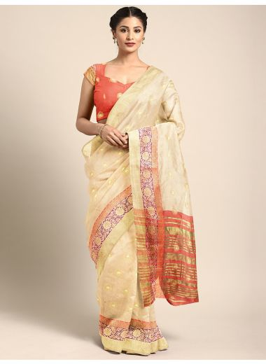 Neerus Beige Color Silk Cotton Fabric Saree, With Blouse Piece