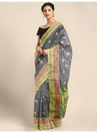 Neerus Grey Color Silk Cotton Fabric Saree, With Blouse Piece