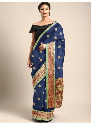 Neerus Navy Blue Color Silk Cotton Fabric Saree, With Blouse Piece