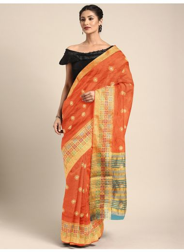 Neerus Orange Color Silk Cotton Fabric Saree, With Blouse Piece