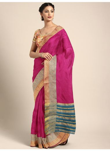 Neerus Pink Color Silk Cotton Fabric Saree, With Blouse Piece
