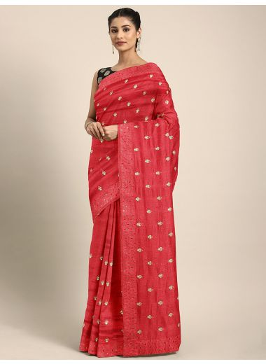 Neerus Red Embroidered Art Silk Saree