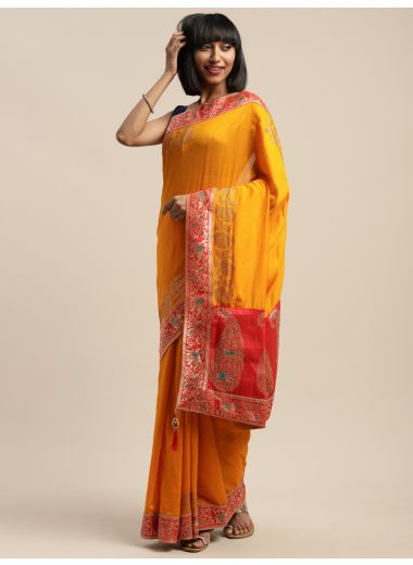 Neerus Yellow Color Art Silk Fabric Saree, With Blouse Piece