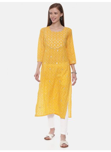 Neeru'S Yellow Color, Cotton Fabric Tunic