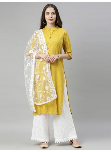 Neeru'S Mustard Color, Rayon Fabric Tunic Dupatta