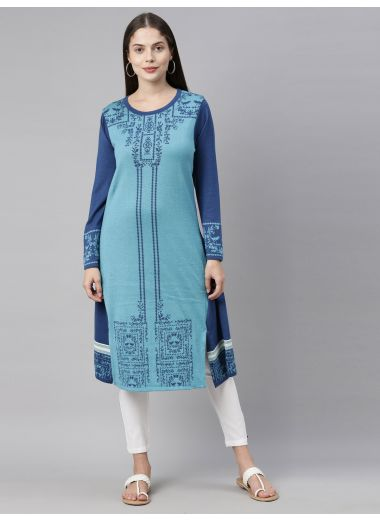 Neeru'S Peacock Color, Undefined Fabric Kurtha Winter Wear