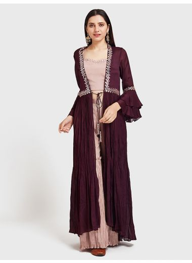 Neerus Wine Color Georgette Fabric Suit-Fusion