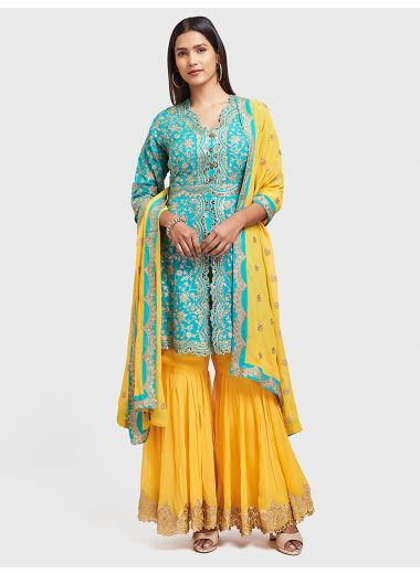 Neerus Yellow Color Georgette Fabric Suit-Gharara