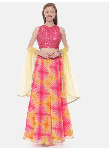 Neeru'S Pink Color, Chiffon Fabric Ghagra Set