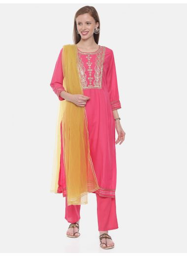 Neeru'S Fushia Color, Muslin Fabric Suit-Pant
