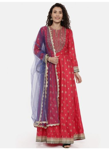 Neeru'S Coral Color, Satin Silk Fabric Suit-Anarkali