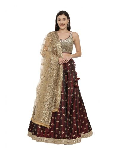 Neeru'S Maroon Color,Tuffeta Fabric Ghagra Set