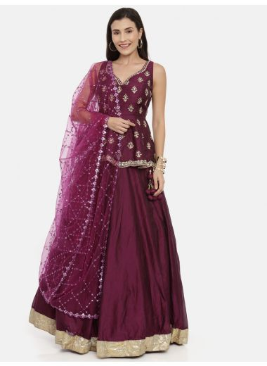 Neeru'S Wine Color, Chanderi Fabric Ghagra Set