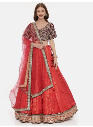 Neeru'S Wine Color,Silk Fabric Ghagra Set