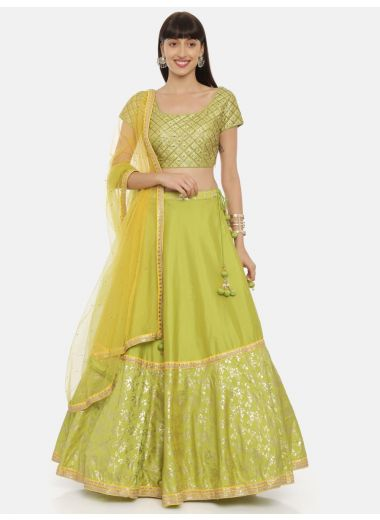 Neeru'S P Green Color,Tuffeta Fabric Ghagra Set