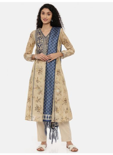 Neeru'S Blue Color, Printed Fabric Full Sleeves Suit