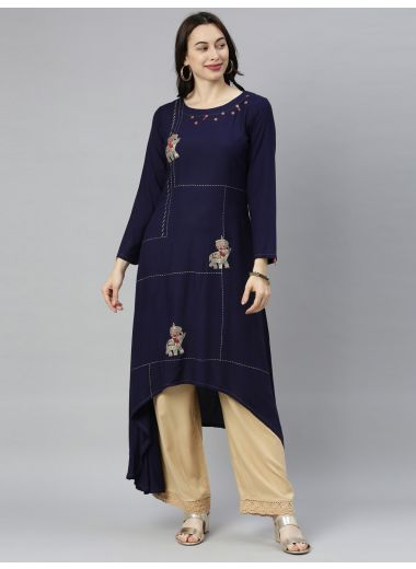 "Neeru'S Navy Blue Colour Rayon Fabric Tunic ""54"""